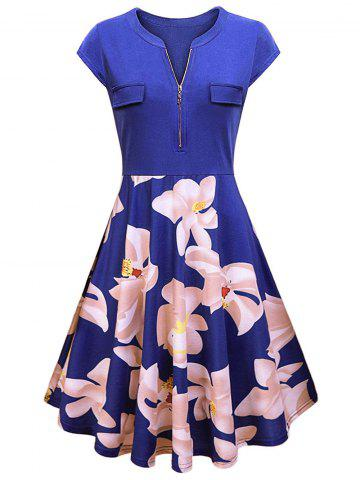 Plus Size Half Zipper Floral Flare Dress