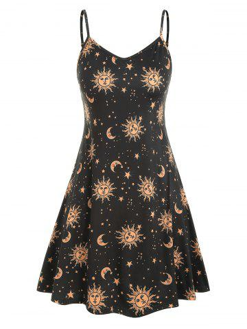eda3a79d5dd Plus Size Sun Stars Moon Cami Dress