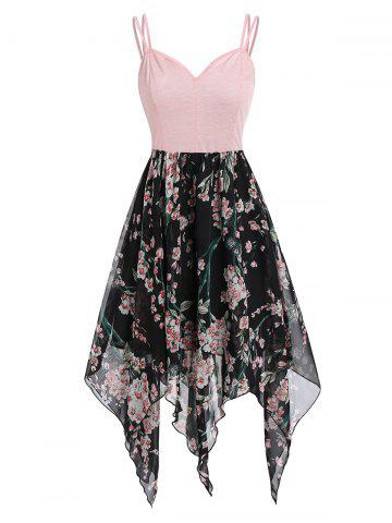 Floral Handkerchief Asymmetric Cami Dress