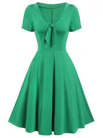 Vintage Bow Tie Fit and Flare Dress