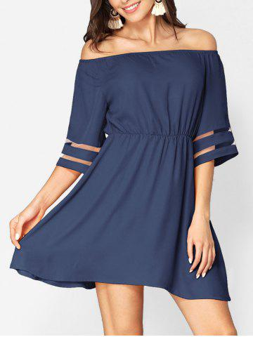 Off Shoulder Mesh Panel Chiffon Dress