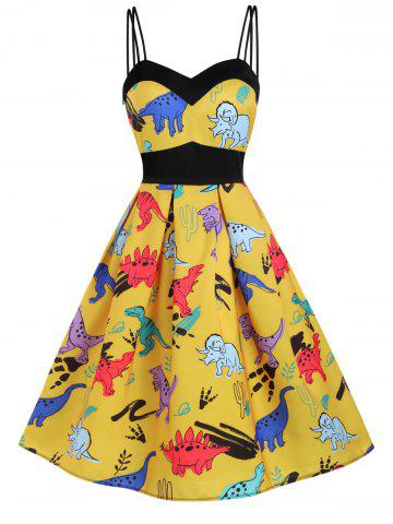 Robe Dinosaure Imprimé à Taille Empire - BEE YELLOW - XL