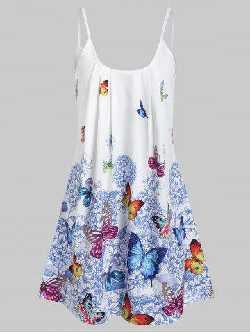 Butterfly Flower Cami Tunic Dress - WHITE - L