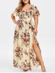 Plus Size Low Cut Split Floral Maxi Dress -