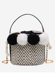 Fuzzy Ball Straw Bucket Bag -