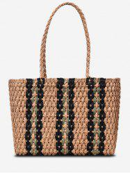 Striped Straw Shoulder Bag -