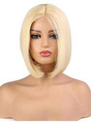 Center Part Medium Solid Straight Human Hair Wig with Lace Front -