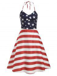 High Waist American Flag Print Halter Dress -