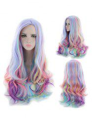 Long Center Part Body Wave Rainbow Synthetic Wig -