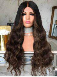 Body Wavy Long Center Parting Synthetic Wig with Lace Front -