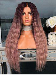 Center Part Wavy Long Ombre Synthetic Wig with Lace Front -