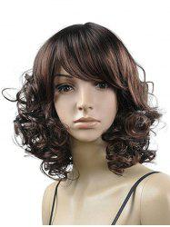 Side Bang Curly Medium Synthetic Fluffy Wig -