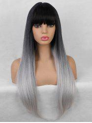 Neat Bang Straight Long Gradient Synthetic Wig -