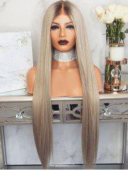Long Center Part Straight Ombre Synthetic Wig -