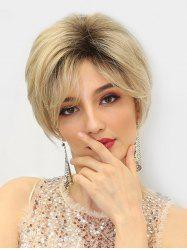 Side Bang Short Ombre Straight Fluffy Human Hair Wig -
