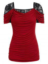 Lace Panel Ruched Square Neck Tee -