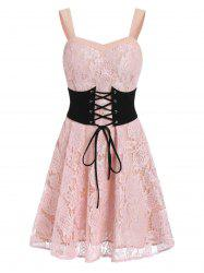 Lace Sweetheart Neck A Line Dress -