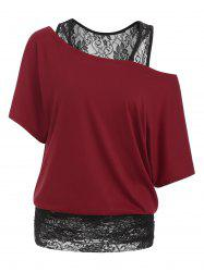 Scoop Neck Lace Panel Casual Tee -
