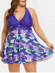 Open Back Floral Print Plus Size Asymmetrical Swimwear -
