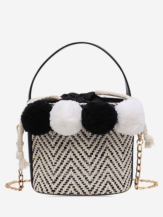Fancy Fuzzy Ball Straw Bucket Bag
