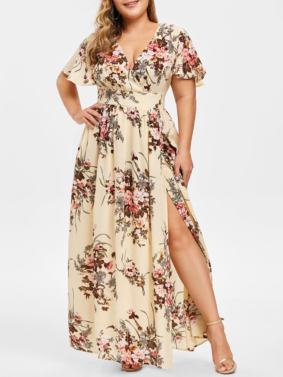 New Plus Size Low Cut Split Floral Maxi Dress