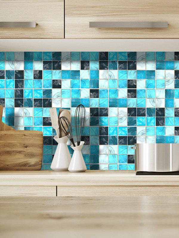Online 19PCS Mosaic Color Block Pattern Wall Stickers