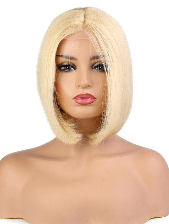 New Center Part Medium Solid Straight Human Hair Wig with Lace Front