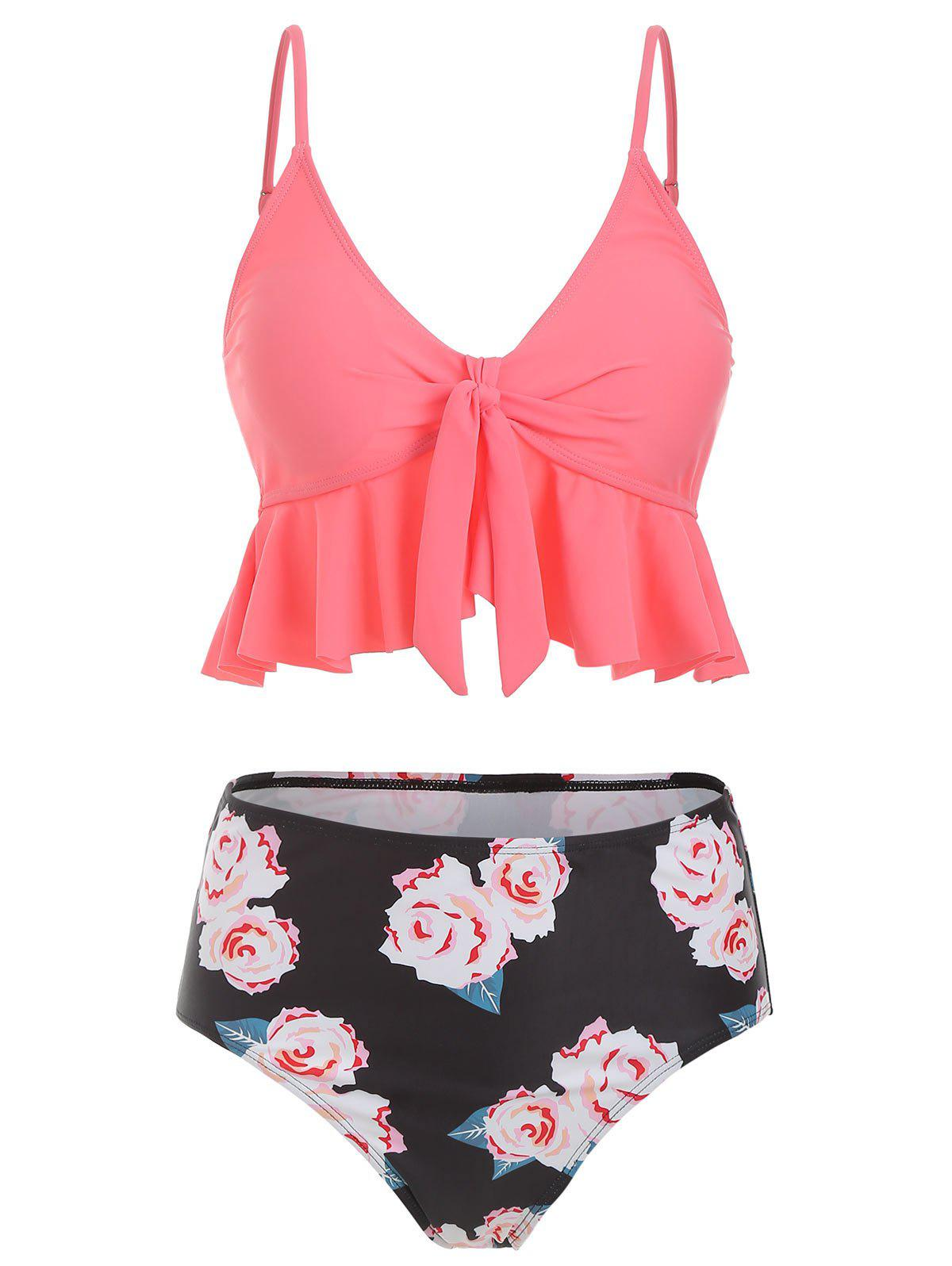 Outfit Flounce Knot Floral Tankini Set