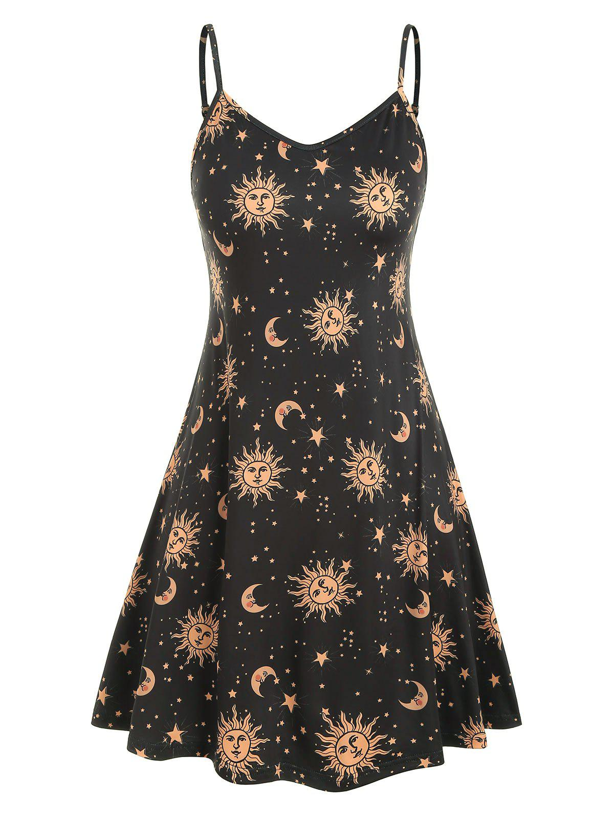 Latest Plus Size Sun Stars Moon Cami Dress