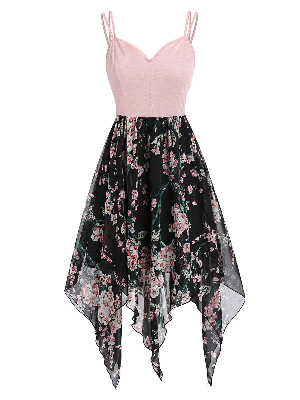 Trendy Floral Handkerchief Asymmetric Cami Dress