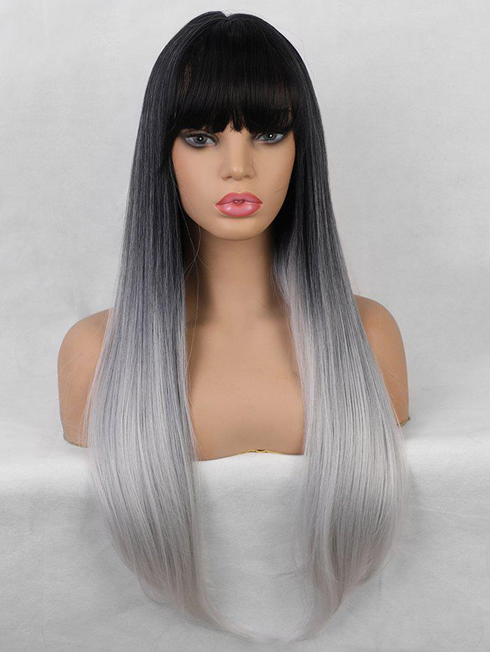 Sale Neat Bang Straight Long Gradient Synthetic Wig