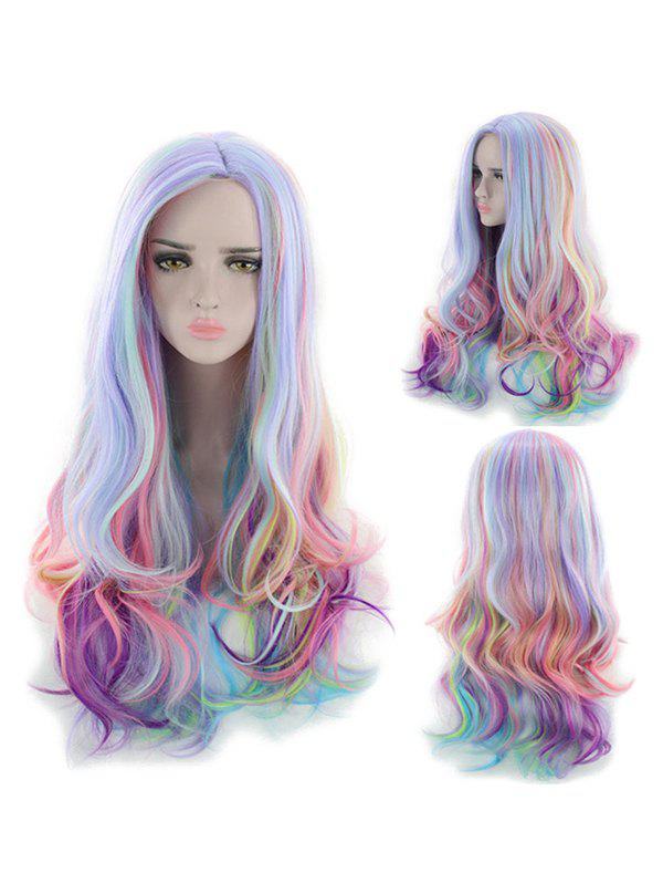 Outfit Long Center Part Body Wave Rainbow Synthetic Wig