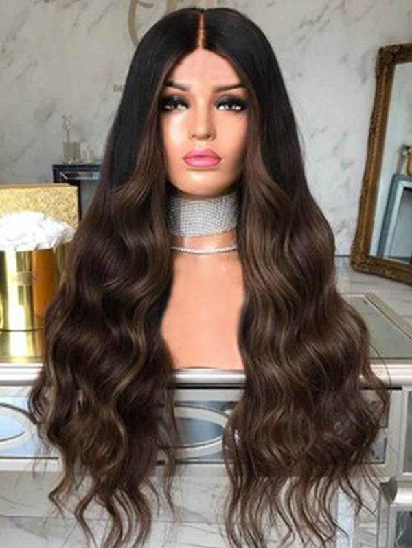 Affordable Body Wavy Long Center Parting Synthetic Wig with Lace Front