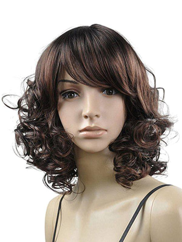 Online Side Bang Curly Medium Synthetic Fluffy Wig