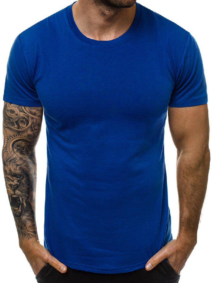 Chic Solid Color Round Neck Leisure T-shirt