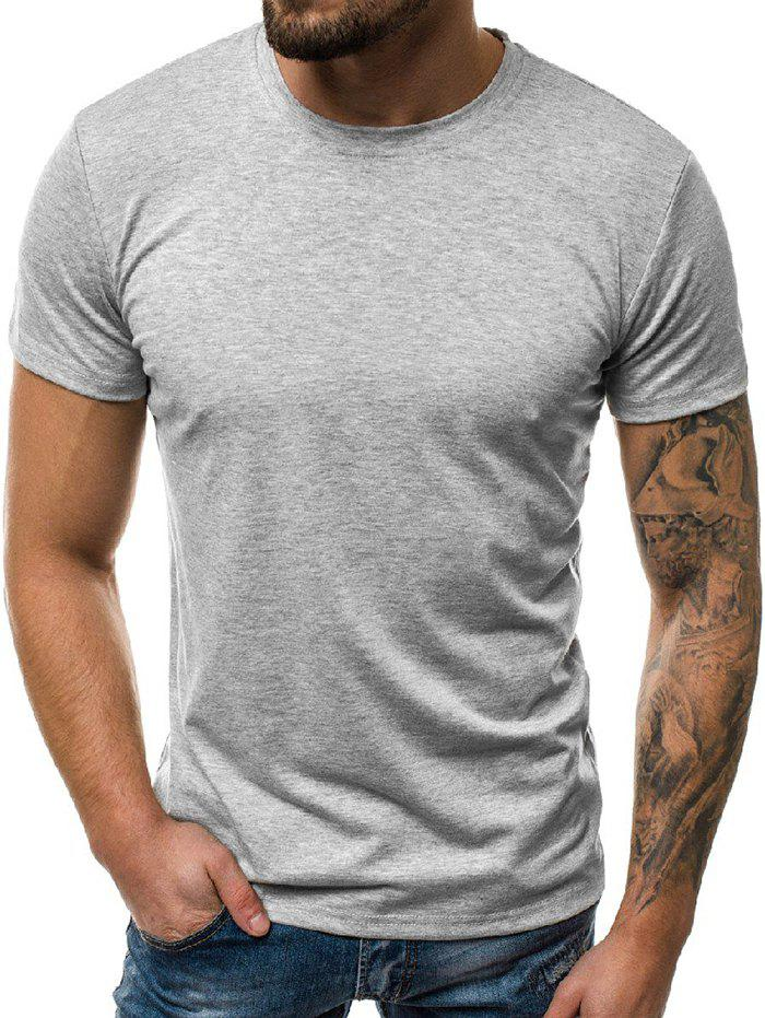 Affordable Solid Color Round Neck Leisure T-shirt