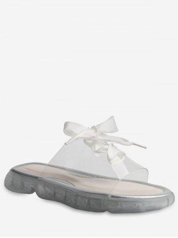 Lace Up Transparent Casual Slippers