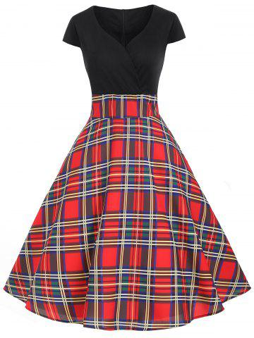 Vintage Plaid A Line Surplice Dress