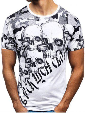Camo and Skull Print Casual T Shirt