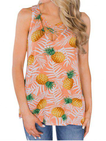 Pineapples Criss Cross Casual Tank Top