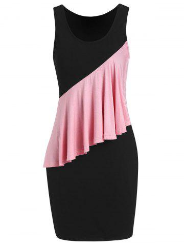 Two Tone Flounce Fitted Dress