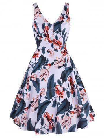 Button Printed Plunging Neck Dress