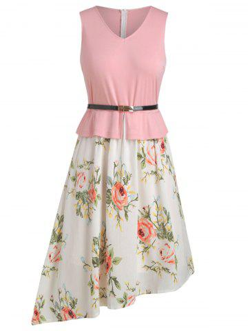 Contrast Floral Belted Asymmetrical Plus Size Dress