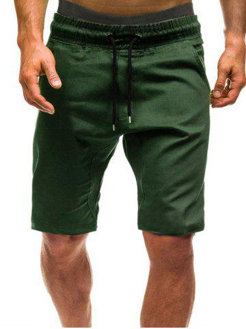 Solid Color Leisure Drawstring Shorts