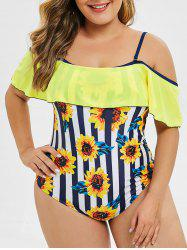Ruffles Sunflower Stripes Plus Size Swimsuit -