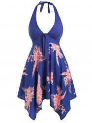 Plus Size Handkerchief Halter Floral Dress -