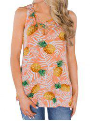 Pineapples Criss Cross Casual Tank Top -