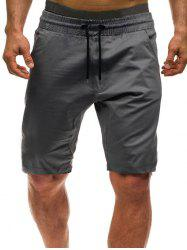 Solid Color Leisure Drawstring Shorts -