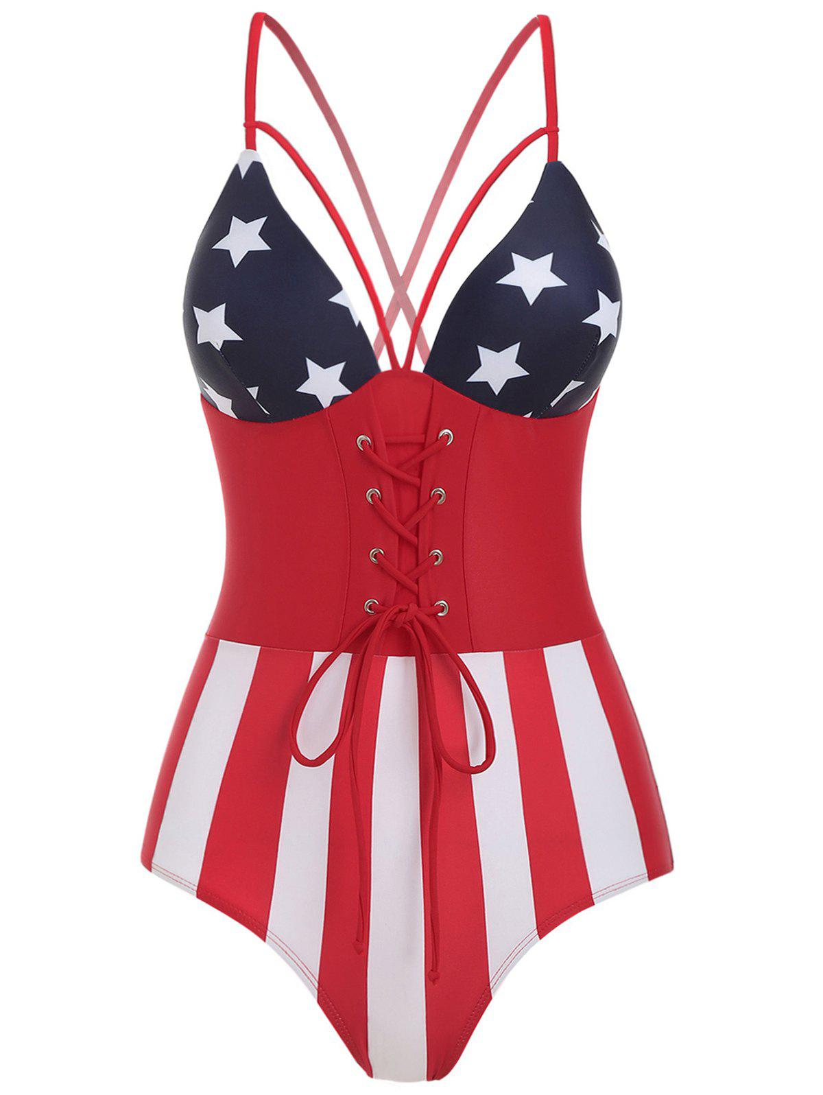 Sale Criss Cross American Flag Print Swimsuit