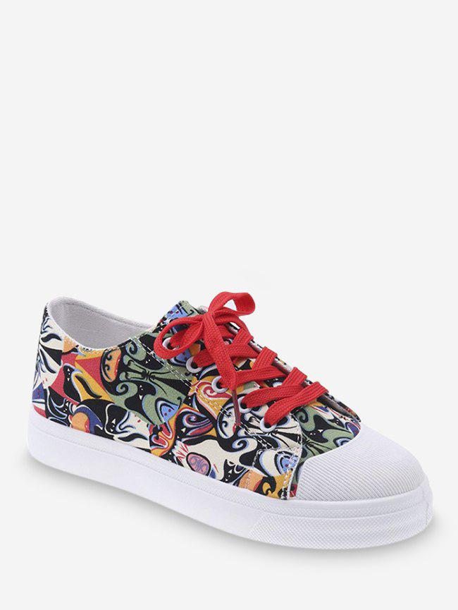 Fancy Face Graphic Patch Casual Flats
